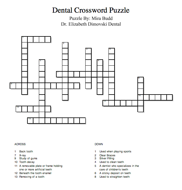 Dental Crossword Puzzle Dr Elizabeth Dimovski And