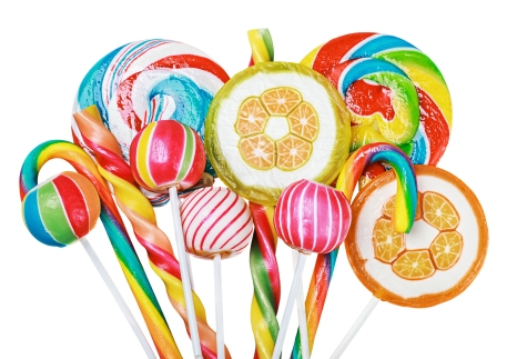 Colorful Candies And Lollipops Isolated